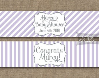 Water Bottle Labels - Lilac White Stripe Bottle Labels - Lavender Party Printable - Silver Purple Waterbottle Label - Bridal Baby Shower LGL