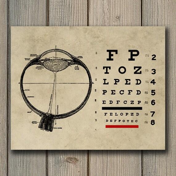 Vintage Ophthalmologist Eye Chart Print Optometry Art Eye