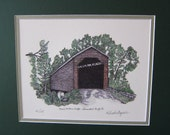 Meem's Bottom's Bridge Limited Edition Pen and Ink and Colored Pencil print  - Shenandoah County, Virginia
