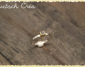 Ring 18 k gold & Silver 925 and rough diamond