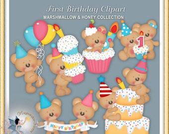 Teddy Bear Clipart, First Birthday, Marshmallow and Honey