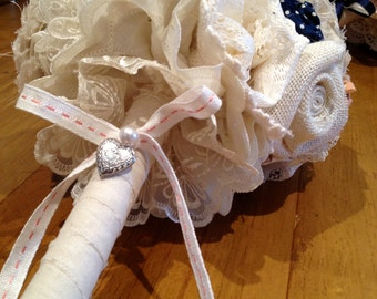 Vintage Look Fabric Bridal Bouquet