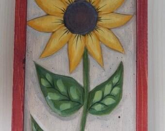 Hand Carved Folk Art Flower Carving