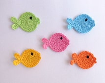 Crochet Applique Fish 10pcs - From Cotton Yarn- Supplies For Clothing, Hair Clips, Handbags