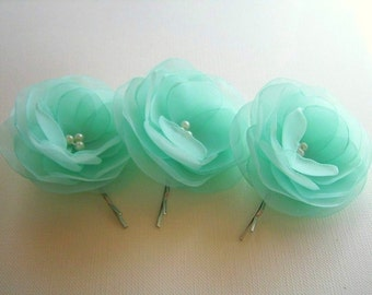 Mint Green Hair Clips Mint Hair Flowers Green Turquise Mint Wedding Hair Flowers Wholesale Price Hair Clip Mint Bridesmaids Mint Boutonniere