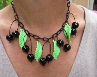 1940's-1950's style bakelite-inspired cherry necklace