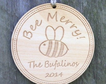Bee Merry Ornament Personalized Christmas Wedding Our First Bumble