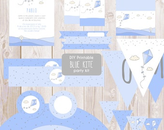 DIY Printable blue kite party kit - Instant download