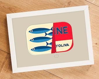 SALE! Italian Food Print Sardines, Kitchen Art, Fish Print, Vintage Print