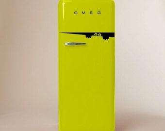 Fridge, Refrigerator, Freezer Sticker Peeping Monster Decal | Sticker for Fridge | Kitchen Decoration |