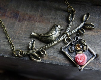 VINTAGE STYLE COLLECTION:Bird on branch and flower pendant necklace, vintage style jewellery,Christmas gift. birthday gift,graduation gift