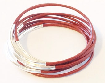 Honeydew Leather Bangle Bracelet with Gold or Silver Tube Accents, Tube Bangles, Tube Bracelets