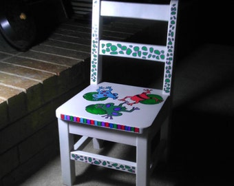 Children's hand painted chair, frog theme with durable finish