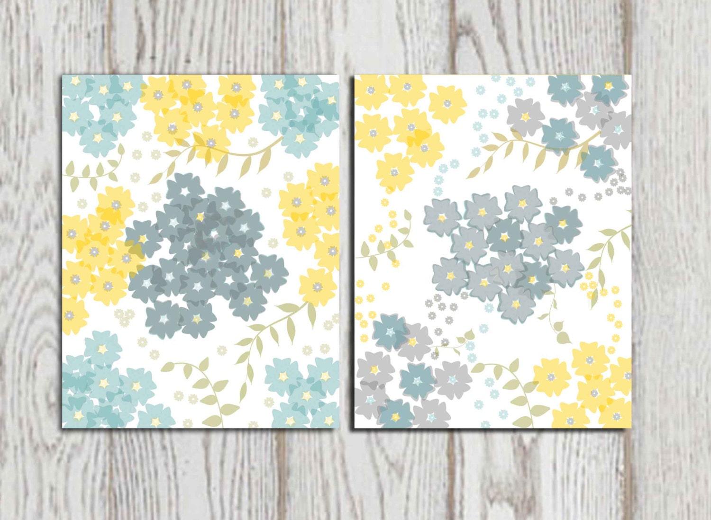 set of 2 flower prints yellow gray blue home decor printable. Black Bedroom Furniture Sets. Home Design Ideas