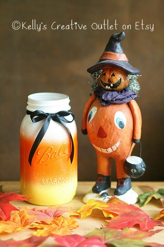 halloween decor halloween candy corn mason jar thanksgiving centerpiece halloween decorations fall decor halloween wedding decor - Etsy Halloween Decorations