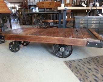 large Vintage Industrial Factory Cart / Coffee Table