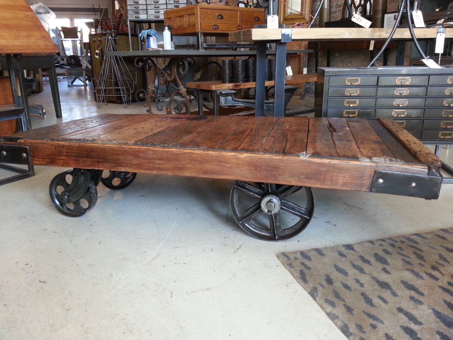 Large Vintage Industrial Factory Cart Coffee Table
