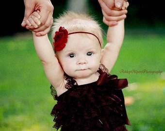 Maroon shabby headband-infant headbands-baby girl headbands-baby headbands-newborn headbands-toddler headbands-shabby headbands-baby bows