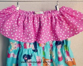 Kimono and Pink Polka Dot Ruffle Neck Dress, Girls Ruffle Neck Dress, Girls Ruffle Dress, Pink Polka Dot Dress, Girls Dress, 3T, 4T, 5T