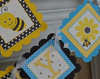 Bumble Bee Birthday Banner - Bee Party - Bumble Bee Party Banner - Blue, Yellow, Black - Party Packs Available