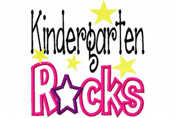 Kindergarten Rocks  Applique Machine Embroidery Design 4x4 and 5x7
