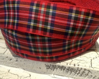 "3 yards 1"" CHRISTMAS RED PLAID Ribbon"