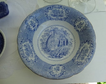 """MOVINGSALE 35% OFF Ridgways """"Oriental"""" Blue and White Transferware 9 inch Bowl.  Made in England."""
