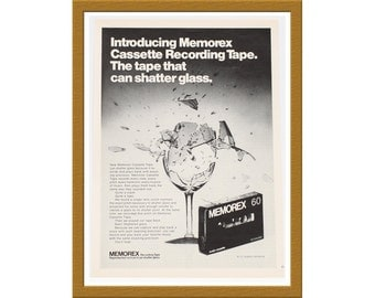 "1971 Memorex Recording Tape B&W Print AD / The tape that can shatter glass / 7"" x 10"" / Original Advertisement / Buy 2 ads Get 1 FREE"