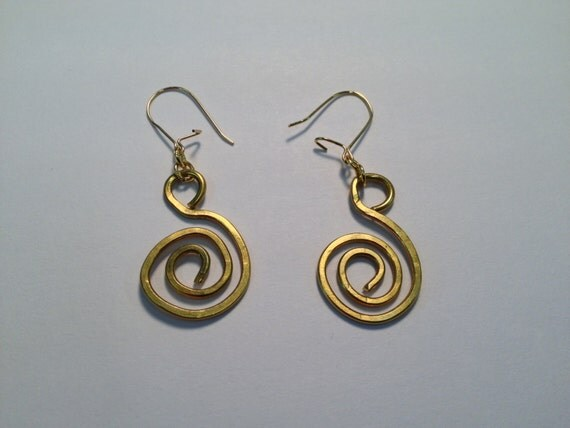 Spiral flattened brass wire earrings