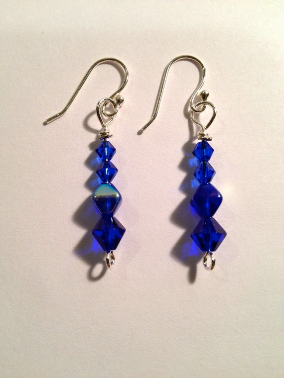 Silver plated earrings with blue Swarovski crystal beads