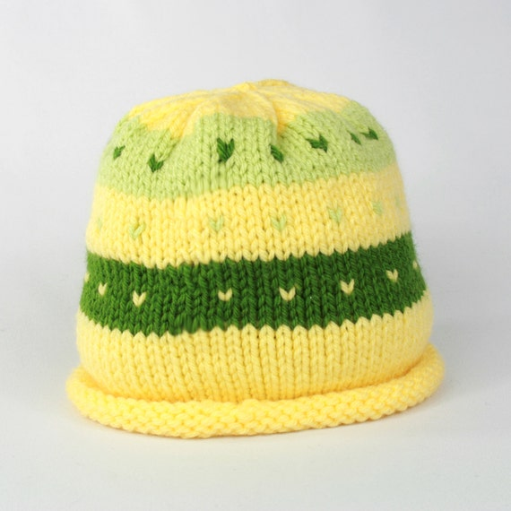 Knitting Pattern For Rolled Brim Baby Hat : Hand knitted Baby 3 6 months rolled brim hat
