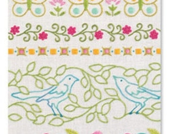 "Heather Bailey's ""Blooming Borders"" embroidery design pattern"