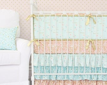 Coral & Gold Sparkle Bumperless Crib Bedding Set |Girl crib bedding, gold baby bedding, coral crib bedding | Scalloped Teething Guard