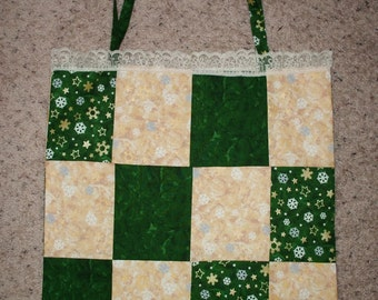 Handmade Green and Gold Snowflake Patchwork Tote Bag