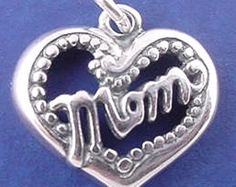 MOM HEART Charm .925 Sterling Silver Pendant - 01746