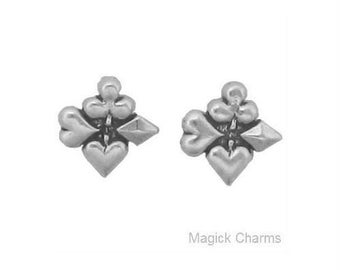 PLAYING CARD EARRINGS .925 Sterling Silver, Post Stud - se633