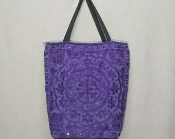 India Embroidered Tote bag Handbag Purple (#01)
