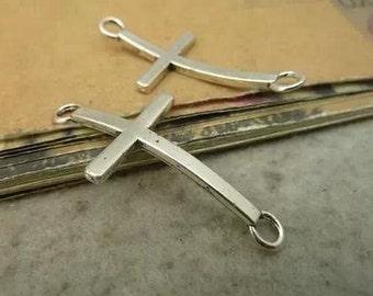 10PCS -Antique Silver sideways cross charm connector 21 x 43mm-No.C3168