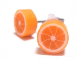 Tangerine Fruit Slice Earrings