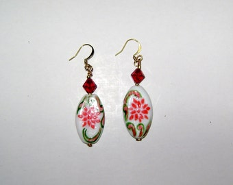 Lampworked Earrings with Crystal Accent