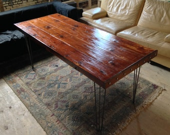 Reclaimed Wood Dining Table with Hairpin Legs