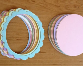 20 Pastel Oval Sizzix scalloped frames die cuts with inserts for cards toppers cardmaking scrapbooking craft projects