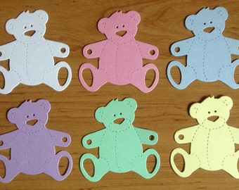 15 Large pastel Teddy Bear die cuts for baby cards toppers cardmaking scrapbooking craft projects