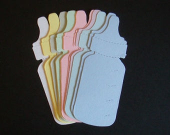 15 Pastel Baby Bottle die cuts for baby cards toppers cardmaking scrapbooking nappy cakes craft projects