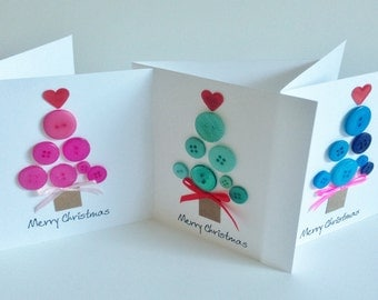 """Handmade button 'Merry Christmas' Tree card - choose from x 3 colours/ comes with envelope 5"""" x 5"""""""
