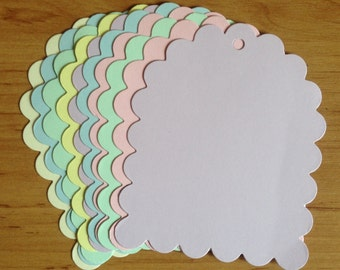 12 super Scallop jumbo Pastel Tags ready for decoration, cardmaking and designing your own gift tags