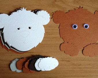 10 Large Bear faces/heads with Paws die cuts for card/toppers *cardmaking*scrapbooking*paper crafting