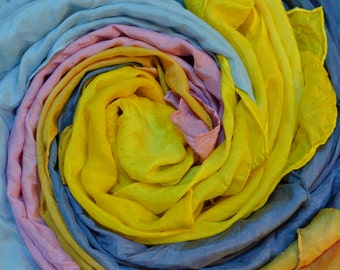 "Set of 3 large plant dyed play silks 35"" x 35"""