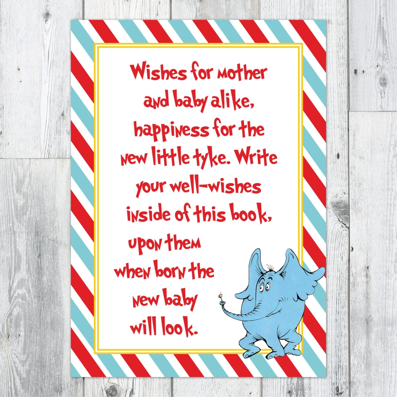Dr. Seuss Baby Shower Well Wishes Printable Sign