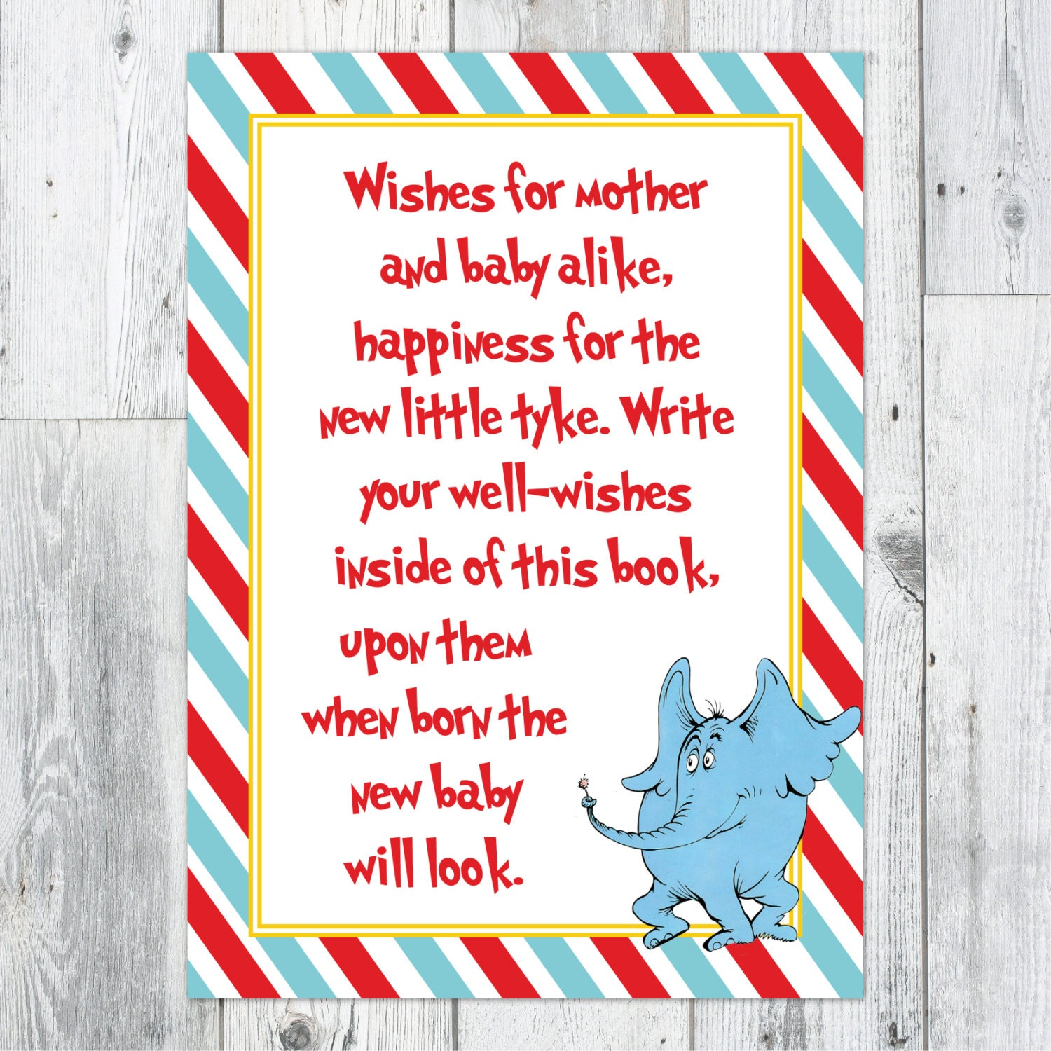 dr seuss baby shower well wishes printable sign